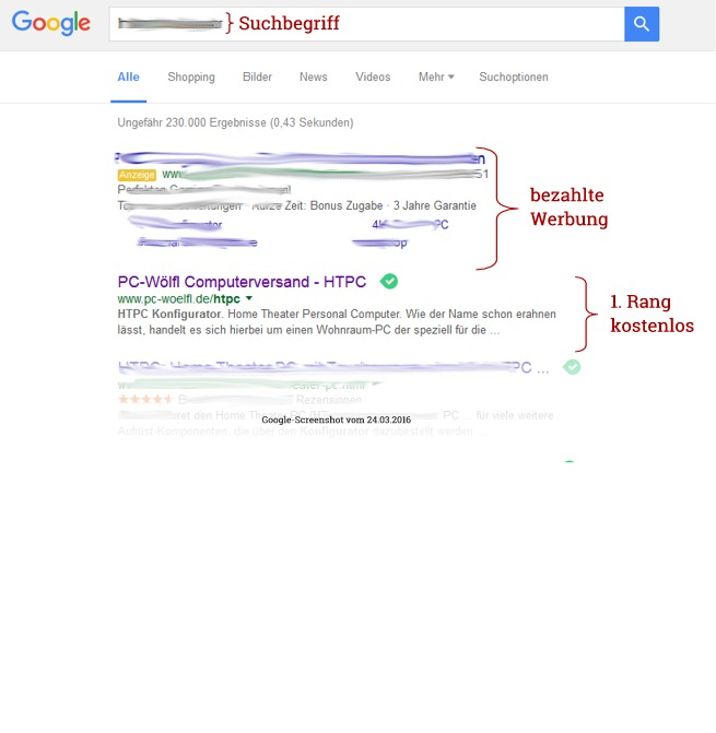 Google-Rangliste Platz 1 PC-Wölfl