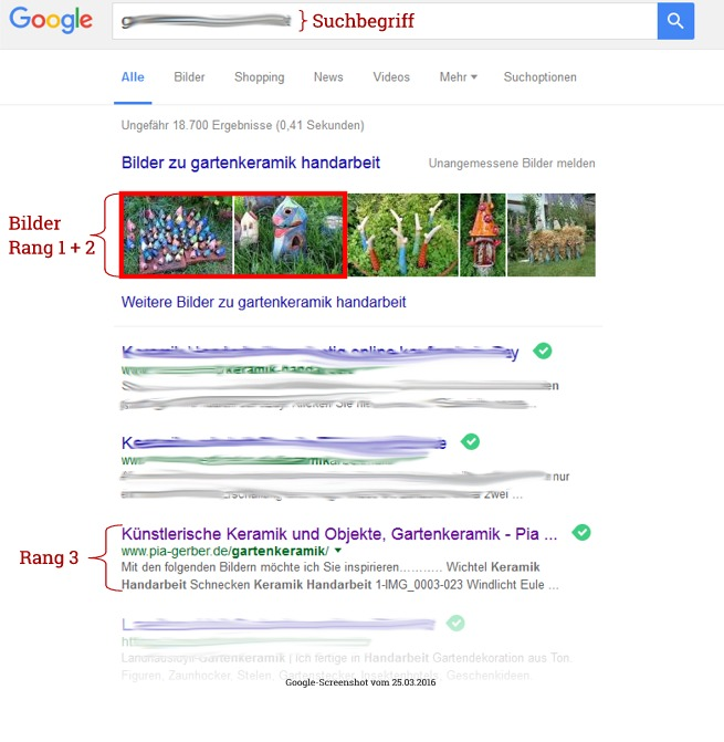 Google-Rangliste Platz 1 Bilder Pia Gerber