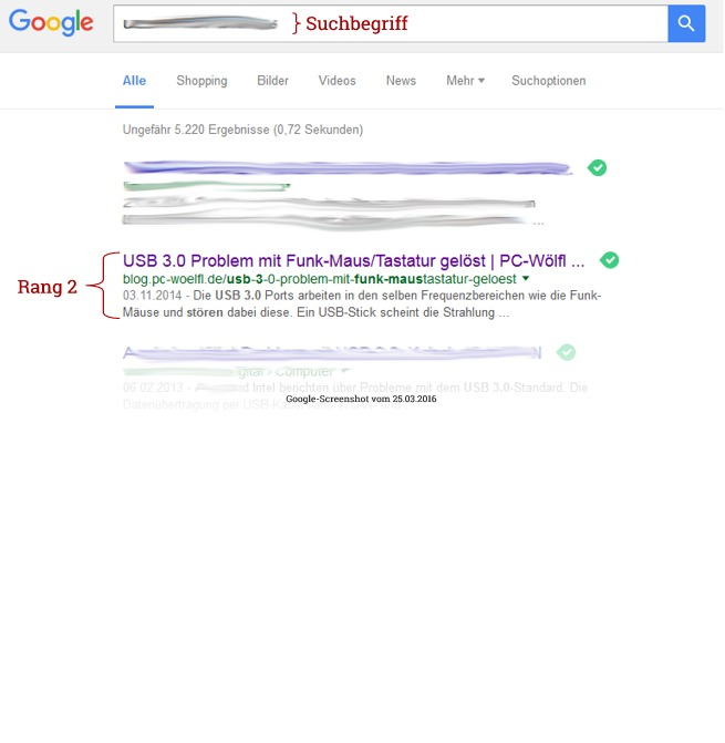 Google-Rangliste Platz 2 Blog PC-Wölfl